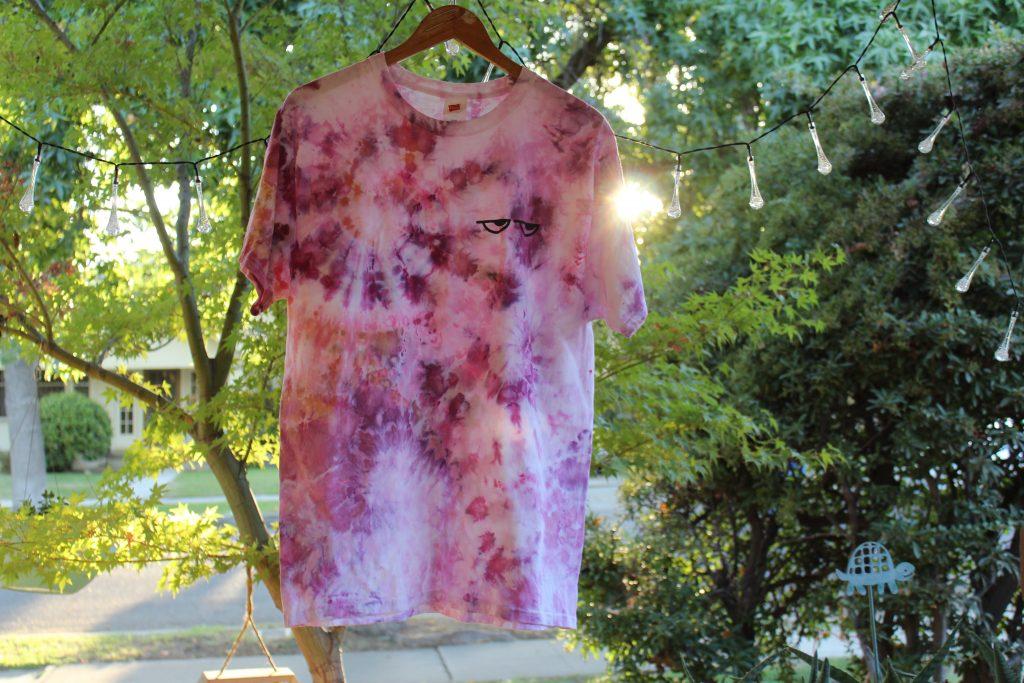 Sideye purple pink spiral shirt